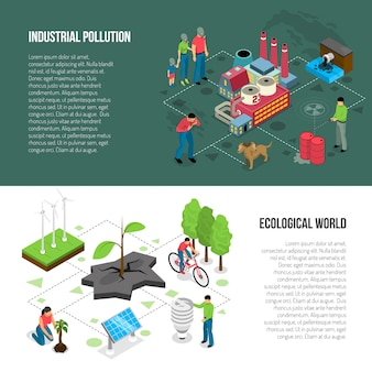 Banners horizontais isométricos de ecologia