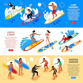 Banners horizontais isométricos de surf