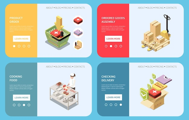 Banners horizontais isométricos definidos com a ordem do produto, sua montagem, verificando a entrega e o personagem cozinhando alimentos ilustração 3d isolada
