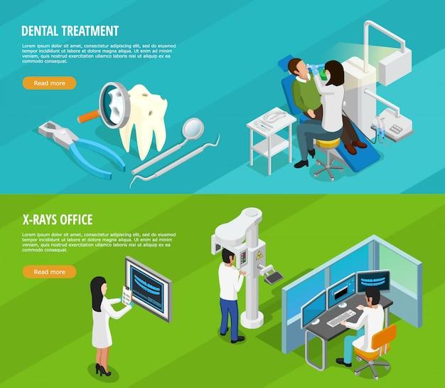 Banners horizontais isométricos odontológicos