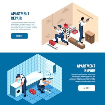 Banners horizontais isométricos para conserto de apartamentos definem a página de destino