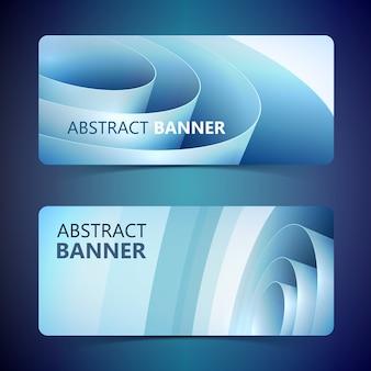 Banners horizontais leves abstratos com bobina de papel de embrulho trançada enrolada azul isolada