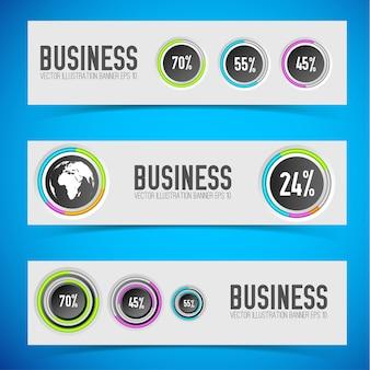 Banners horizontais leves da web com botões redondos, anéis coloridos, ícone de globo e taxas percentuais isoladas