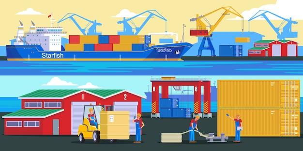 Banners horizontais logísticos de envio