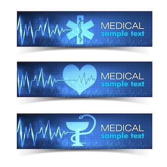 Banners horizontais médicos azuis com coração e cruz