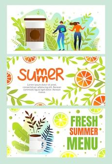 Banners horizontais menu de verão fresco, verão