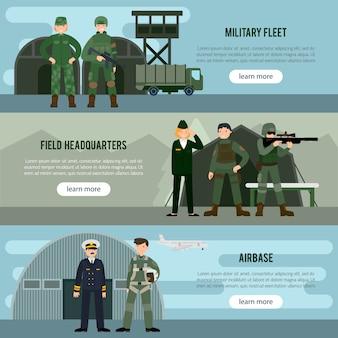 Banners horizontais militares planos