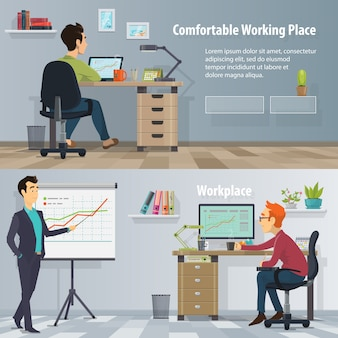 Banners horizontais no local de trabalho comercial com pessoas ocupadas em um escritório moderno e confortável