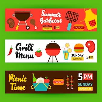 Banners horizontais para churrasco. ilustração em vetor design plano de promoção na web.