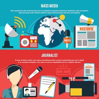 Banners horizontais para mídia de massa e jornalistas com acessórios clássicos de jornalistas