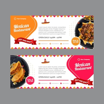 Banners horizontais para restaurante mexicano