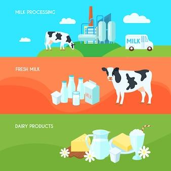 Banners horizontais plana de leite fazenda produtos lácteos conjunto com creme de iogurte e queijo