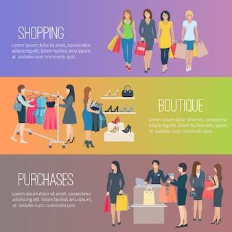 Banners horizontais planas de cor com texto mostrando mulher às compras na boutique