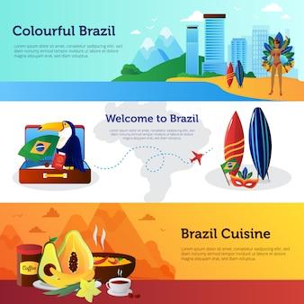 Banners horizontais planas de viagem brasil conjunto com marcos de pratos de cozinha nacional e ilustração vetorial de prancha de surf