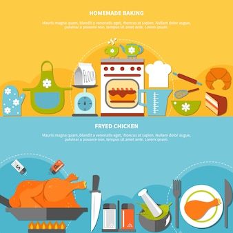 Banners horizontais planos culinários caseiros