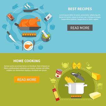 Banners horizontais planos culinários