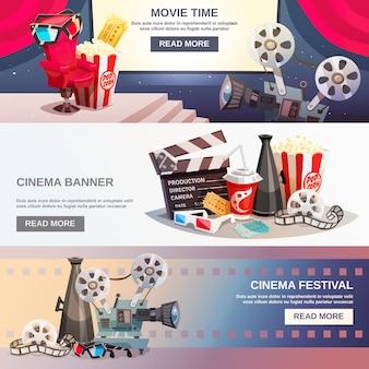 Banners horizontais planos de cinematografia