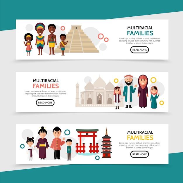 Banners horizontais planos multirraciais para pessoas