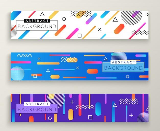 Banners horizontais retrô de estilo abstrato de memphis