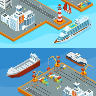 Banners horizontais vetor com mar navios no porto. ilustração de transporte marítimo de negócios