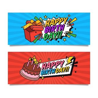 Banners horizontais vintage de feliz aniversário