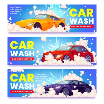Banners ilustrados criativos para carros