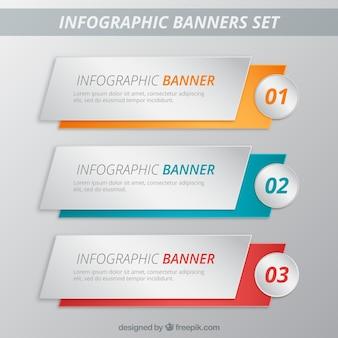Banners infográfico pacote de modelo