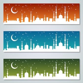 Banners islâmicos coloridos vector coleção de modelos