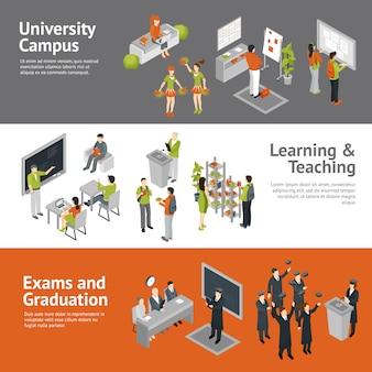 Banners isométricos da faculdade universitária