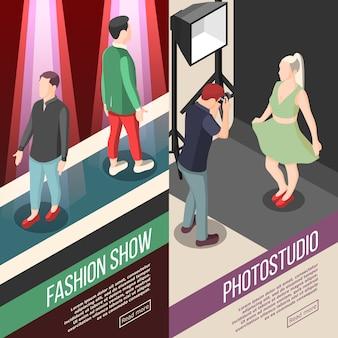 Banners isométricos da indústria da moda