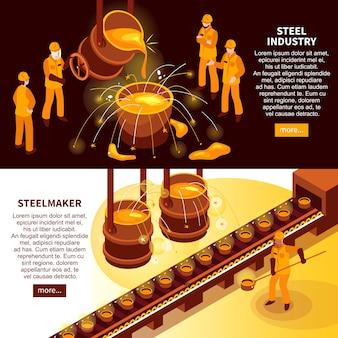 Banners isométricos da indústria siderúrgica