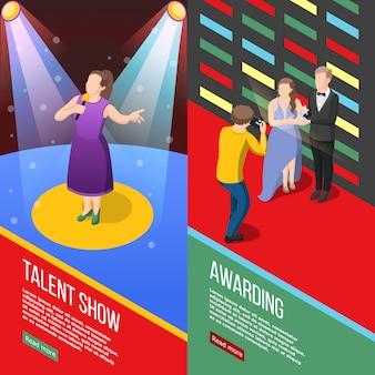 Banners isométricos de apresentação de talentos