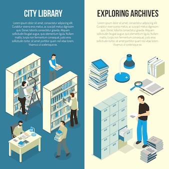 Banners isométricos de biblioteca de arquivos de documentos