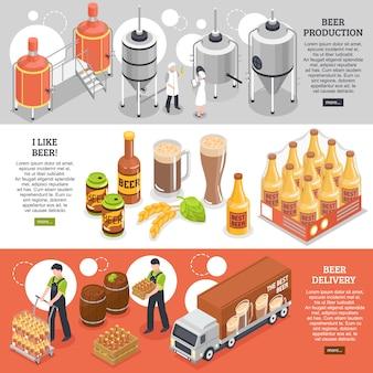 Banners isométricos de cervejaria