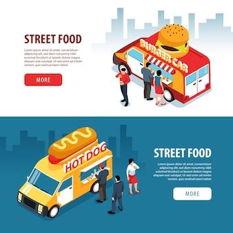 Banners isométricos de comida de rua com personagens humanos de fundos de cidades e vans de food truck com texto