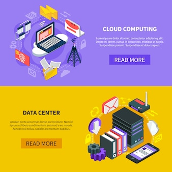 Banners isométricos de computação em nuvem