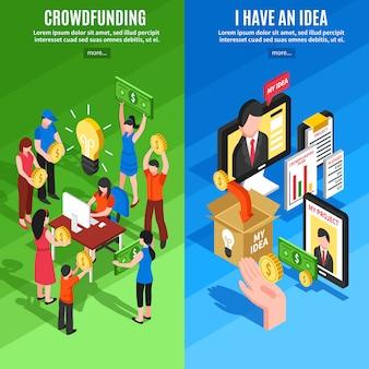 Banners isométricos de crowdfunding