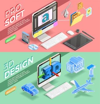 Banners isométricos de design gráfico