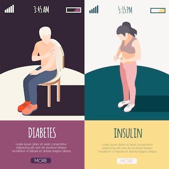 Banners isométricos de diabetes com pacientes masculinos e femininos, dando-se tiro de ilustração vetorial de insulina