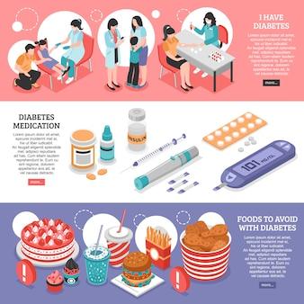 Banners isométricos de diabetes