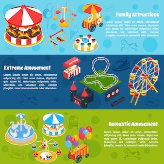 Banners isométricos de diversões
