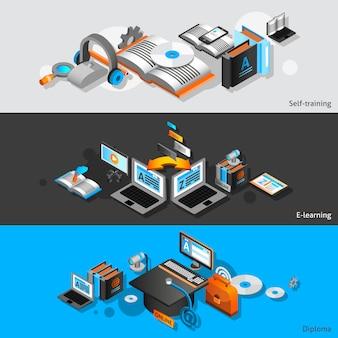 Banners isométricos de e-learning
