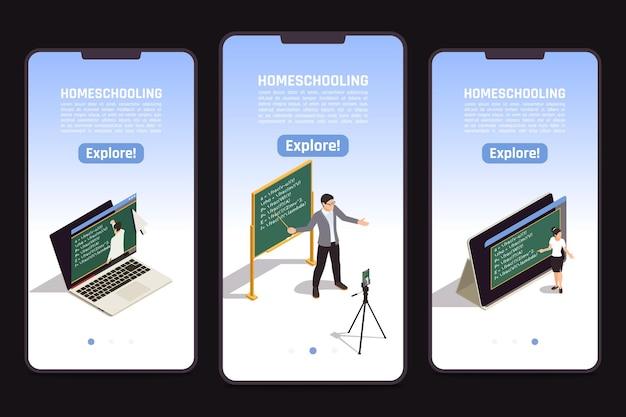 Banners isométricos de educação online com o professor dando aula de vídeo em fundo preto 3d