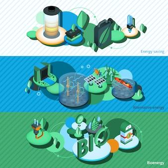 Banners isométricos de energia verde