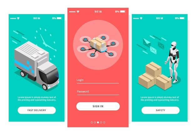 Banners isométricos de entrega rápida para design de aplicativos móveis, oferecendo maneiras diferentes de ilustração após a entrega