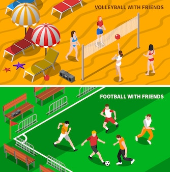 Banners isométricos de esporte de amigos