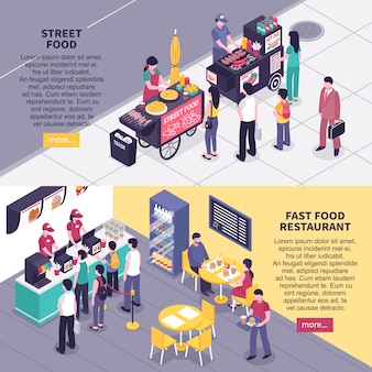Banners isométricos de fast-food