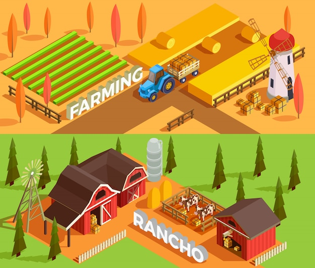 Banners isométricos de fazenda