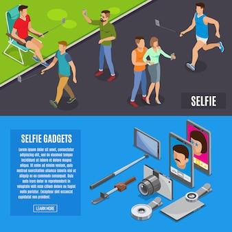 Banners isométricos de foto social selfie