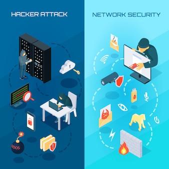 Banners isométricos de hacker vetrical